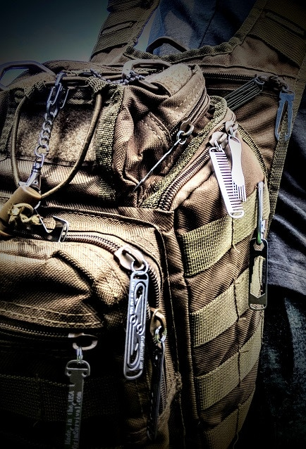 Grim EDC Tools placed onto a bag. Multiple tools can be stored onto one zipper slot.