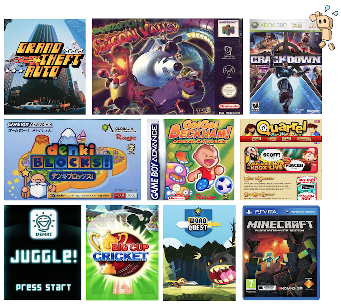 Some of our favourite games from the dozens we've had the pleasure of being involved in making, from the original Grand Theft Auto and Crackdown through the award-winning Denki Blocks! and Quarrel to an acclaimed conversion of Minecraft.