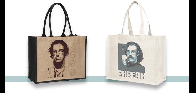 Jute book bags: 'Phreak' and 2600 - $18 each