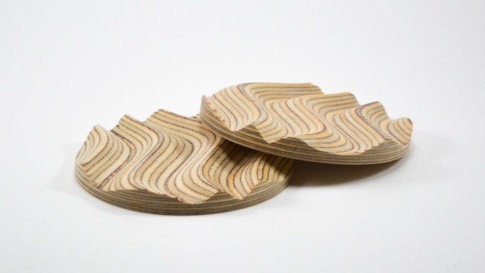 Pair of Coasters made of the same wood used for the Strata Puzzle