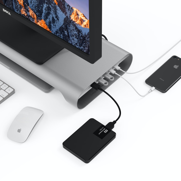The USB-C, 4K HDMI, Pass-Through Charging and USB hub embedded aluminum stand that simplifies your working process