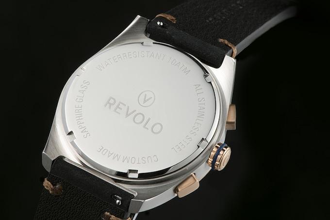 Revolo branded closed case back for the Ronda 5030D quartz movement