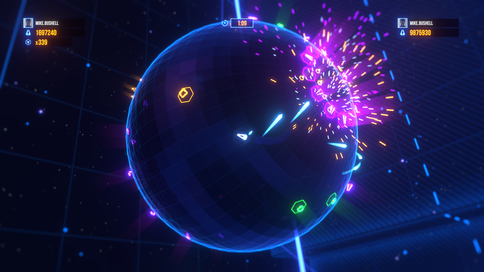 ARENA³ᴰ has multiple game modes. Many are based around classic arcade games like Geometry Warsᵀᴹ