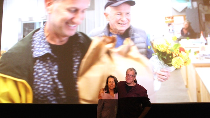 Marcia Ross and Jeff Kaufman, with (on screen) Tom Kirdahy and Terrence McNally