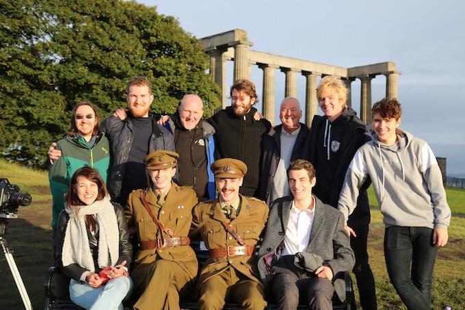 Cast and crew at sunrise on Calton Hill, Edinburgh