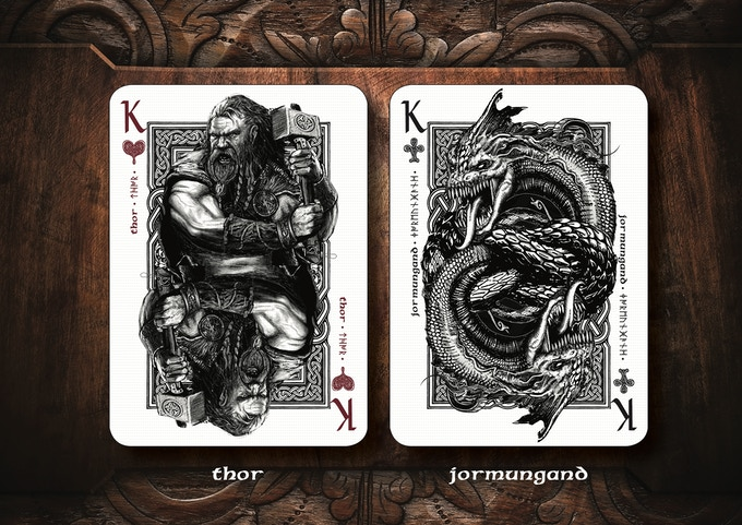 War god Thor fighting his arch enemy, The Midgard Serpent, and wins the battle, but dies from his own wounds.