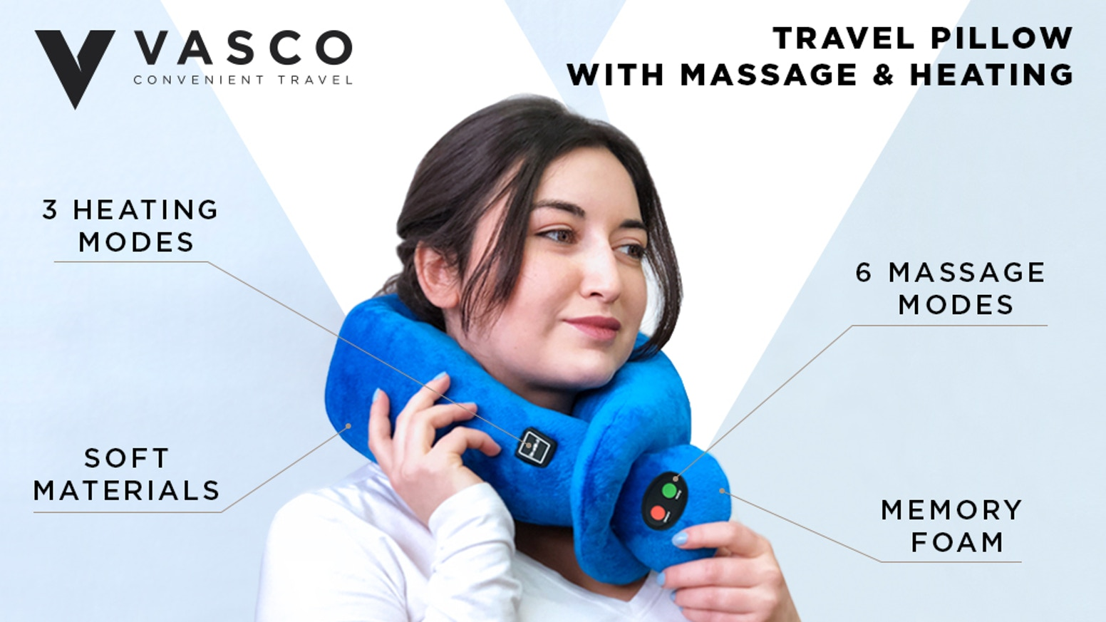 Vasco pillow's memory foam relieves pain in the neck, heating mode & massage system improves blood circulation and helps to fall asleep