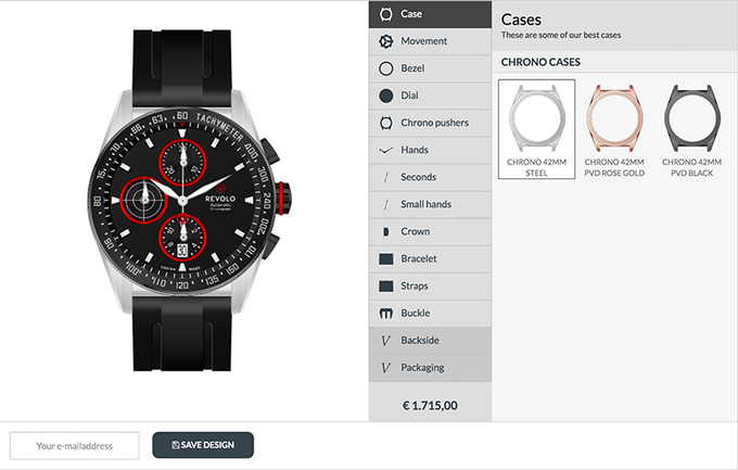 Create your Revolo chronograph now in our online configurator