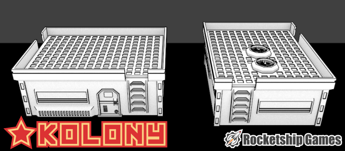 Front and side of a variant of the 6x8 Habitat, used for larger families and small offices.