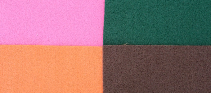 Pink, Green, Orange, Brown