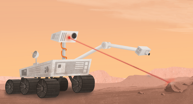 Mars rovers just love vaporizing rocks. Pew, pew!