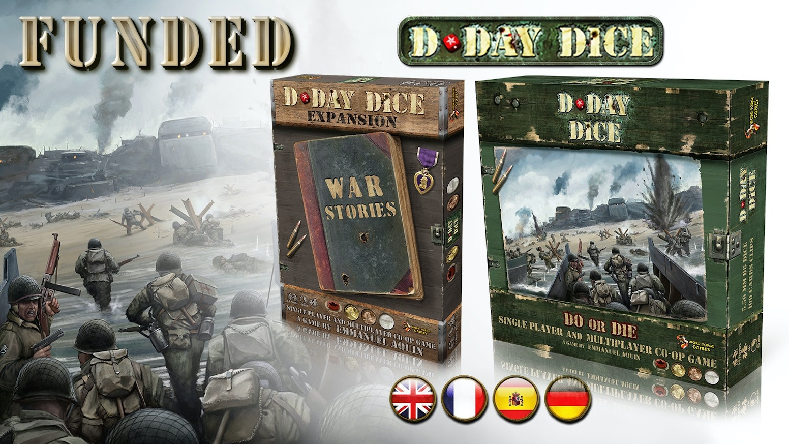 D-Day Dice is a multi-award winning solo-play/co-op game for 1+ players, set during WWII, with a play time of approx. 45 minutes.