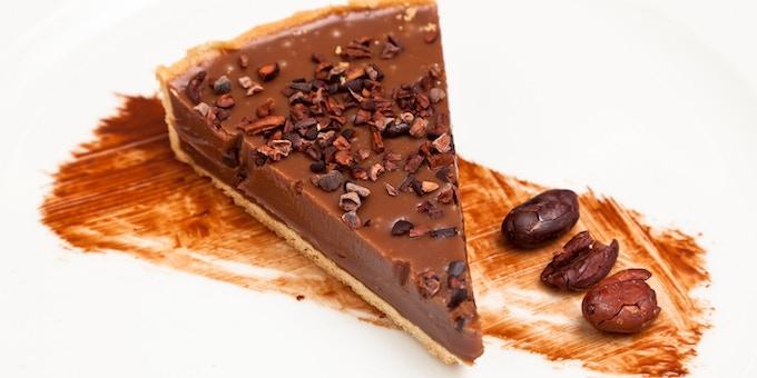 Sea-salted caramel tart with Javanese milk chocolate