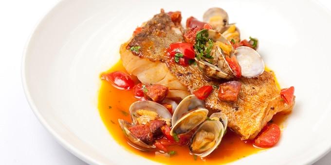 Cod with clams and chorizo