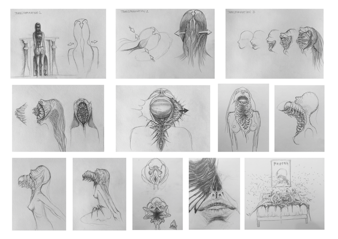 Creature concept drawings