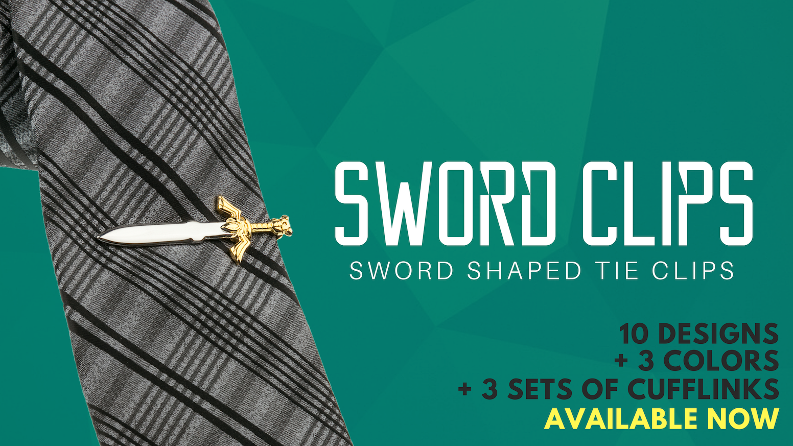 Nerdy tie clips inspired by some of pop-culture's most iconic swords. Ten designs available now!