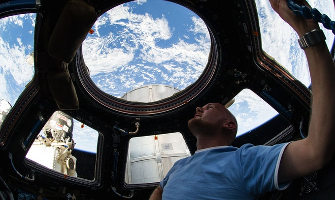 Cupola viewing window on ISS