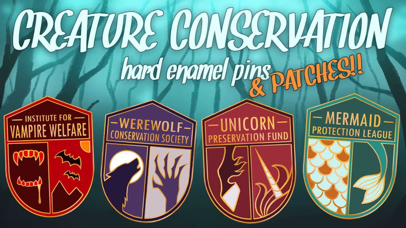 Show your support for your favorite fantastic creatures with these conservation pins & patches!