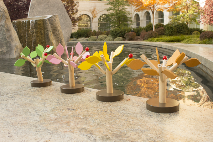 Final design of miniature trees. Each copy of Stumped comes with these four miniatures.