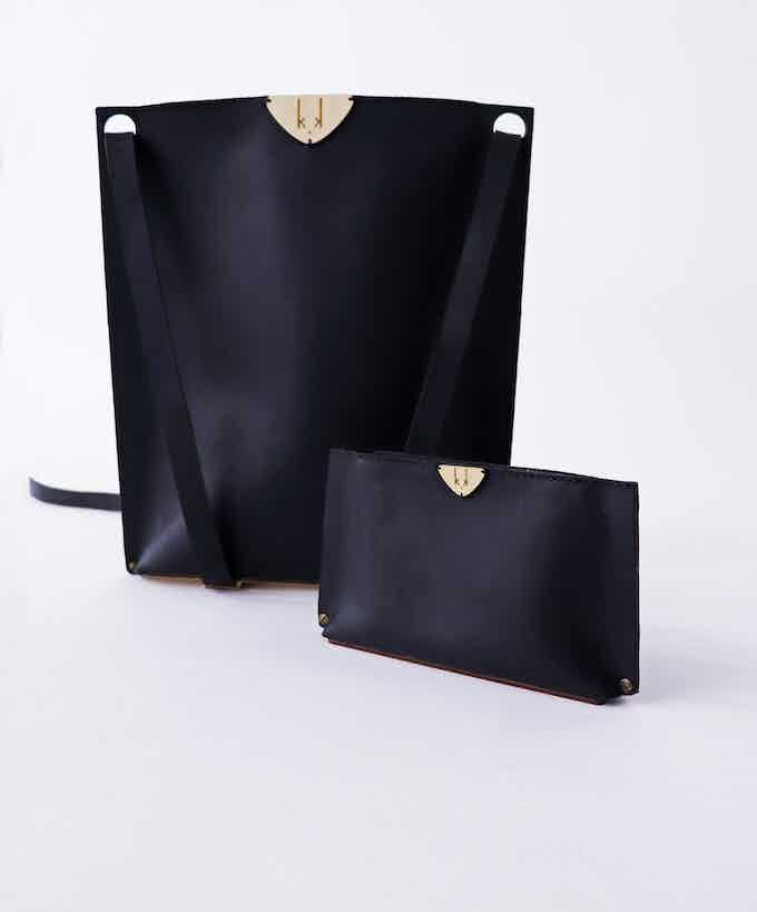 L TOTE backpack and CLUTCH