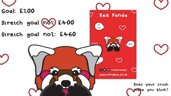 Valentines Red Panda Enamel Pin Badge