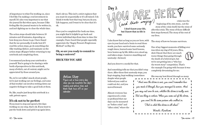 Here are a couple pages of the book, laid out on my computer! FANCY!