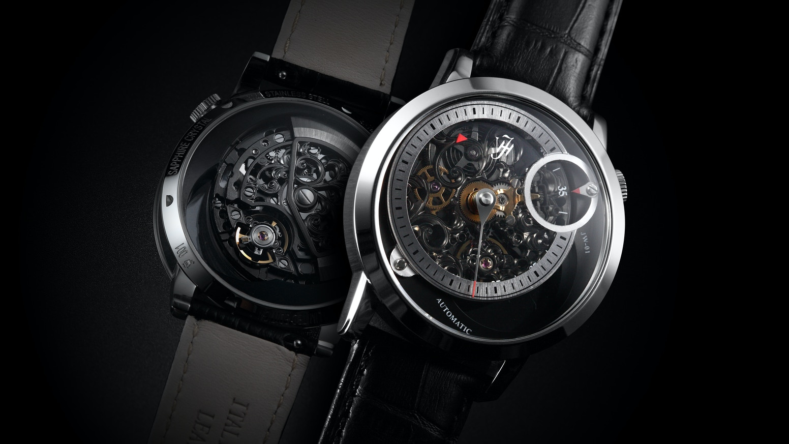 JW-01 is a designer watch created by using Golden ratio, new time displaying method, and new skeleton in-house movement.
