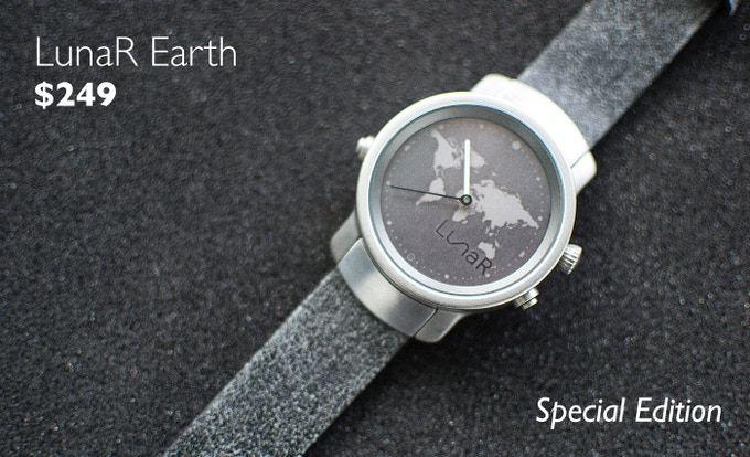 With a Premium Black Distressed Leather Strap, Sapphire Crystal Glass, Custom Made Hinges and a Special KS Engraving on the backside of the watch case, the LunaR Earth is a one of its kind.
