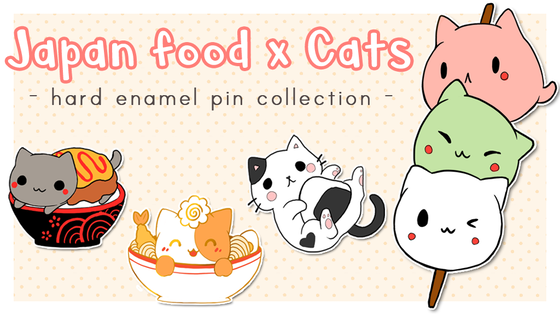 Japan food x cats - hard enamel pins