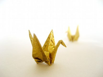 Gold crane, flattened and mailed to you