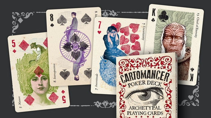A unique deck of playing cards with divination in mind. Inspired by French cartomancy, each card is illustrated with archetypes.