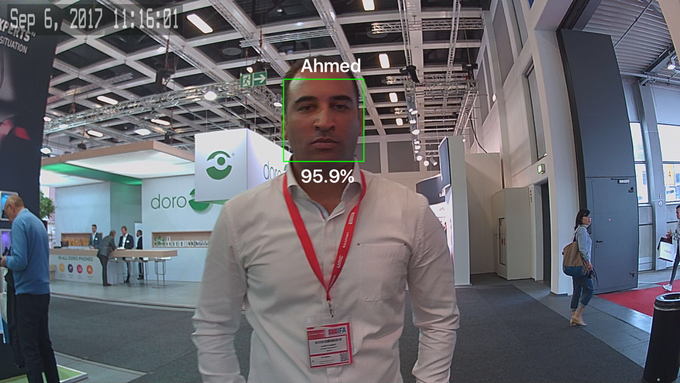 Face Recognition - faces recognizable within 12 feet (3.5 meters)