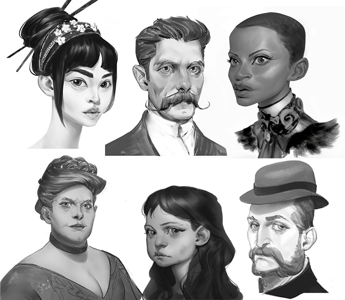 Concepts for 3D characters currently being created! Art by Ayran Oberto