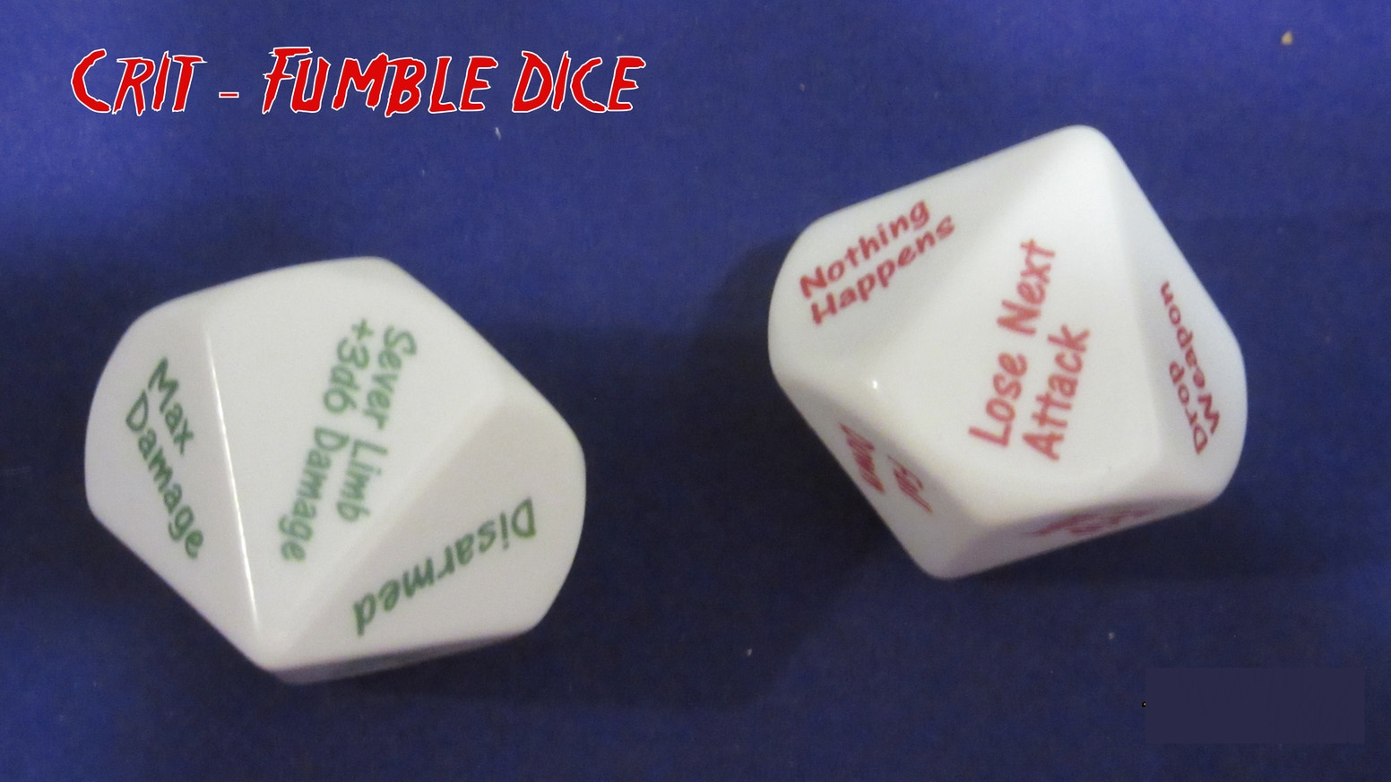 Easy to use Critical Hit and Fumble dice, suitable for use in any RPG game. Great for keeping the game moving in the heat of battle.Did you miss out on the Kickstarter, you can still jump in and get your set with the backers by ordering today!!