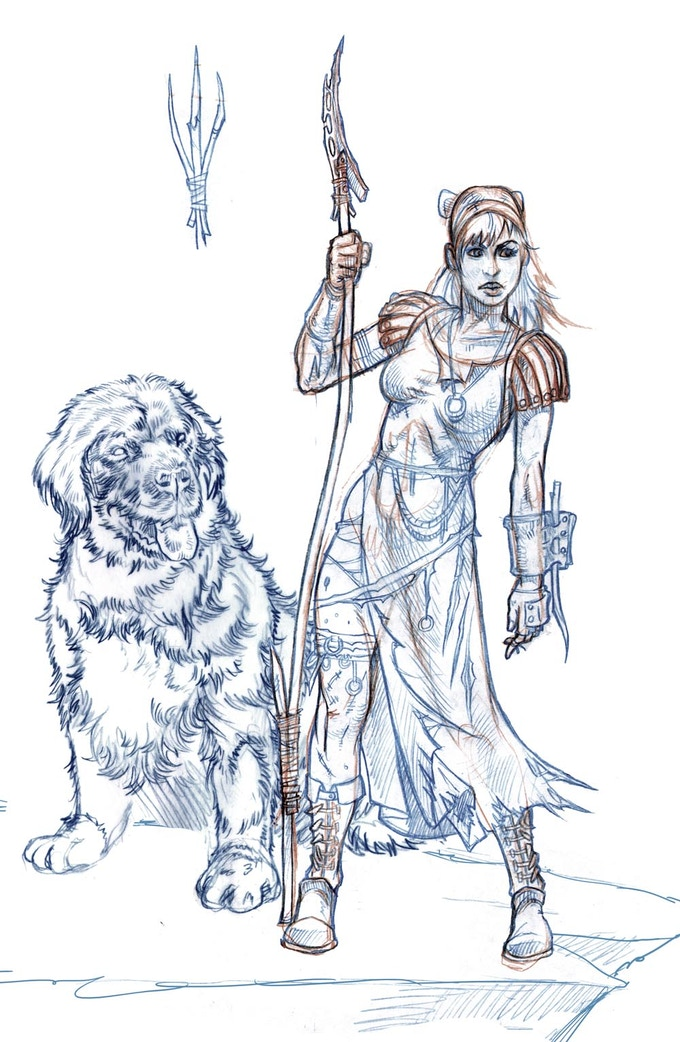 Kev Crossley's initial character design for Wendy Darling and Nana the Newfoundland
