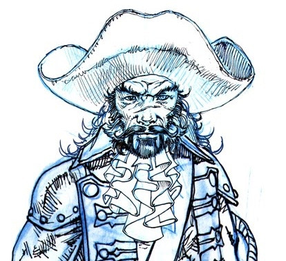 Character design for Captain James Hook by Kev Crossley