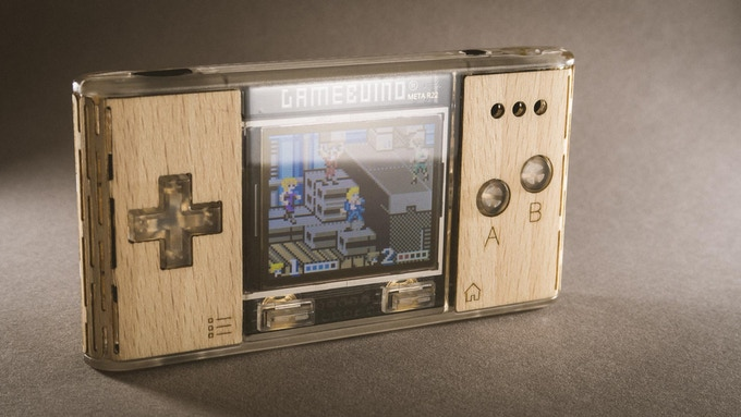 Gamebuino META with beech wood skin. Mockup by Ericomont.