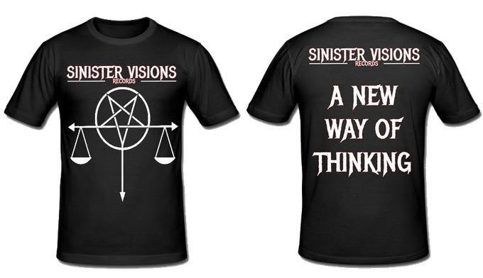 Sinister Visions Records Pentascale T-Shirt - the scale represents a balance between ethics and fairness