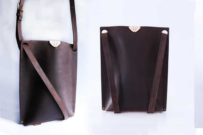 TOTE messenger bag and a backpack in brown color