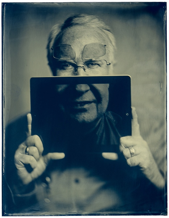 Ambrotype (wet plate on glass) portrait of Dan Burkholder, author of Making Digital Negatives for Contact Printing, by David Hyams