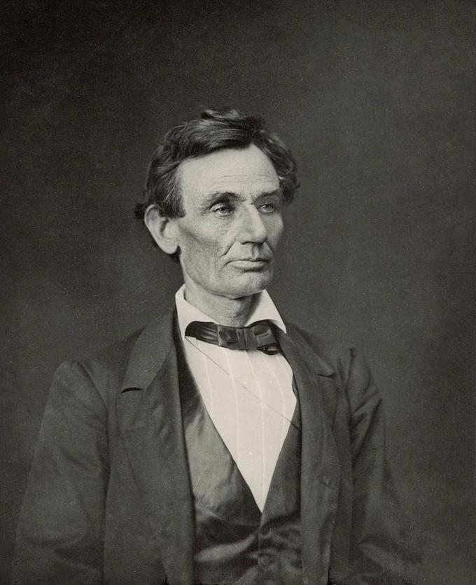 Abraham Lincoln, platinum print from wet plate glass negative, by Alexander Hessler ca 1860
