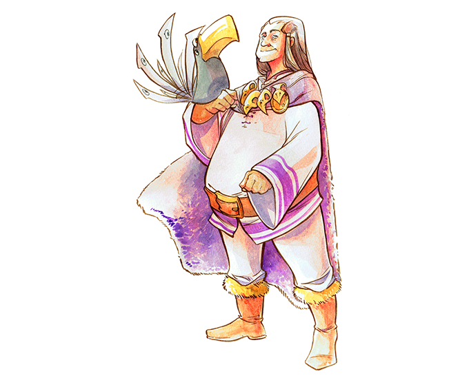 A Lilac warlock and his familiar.