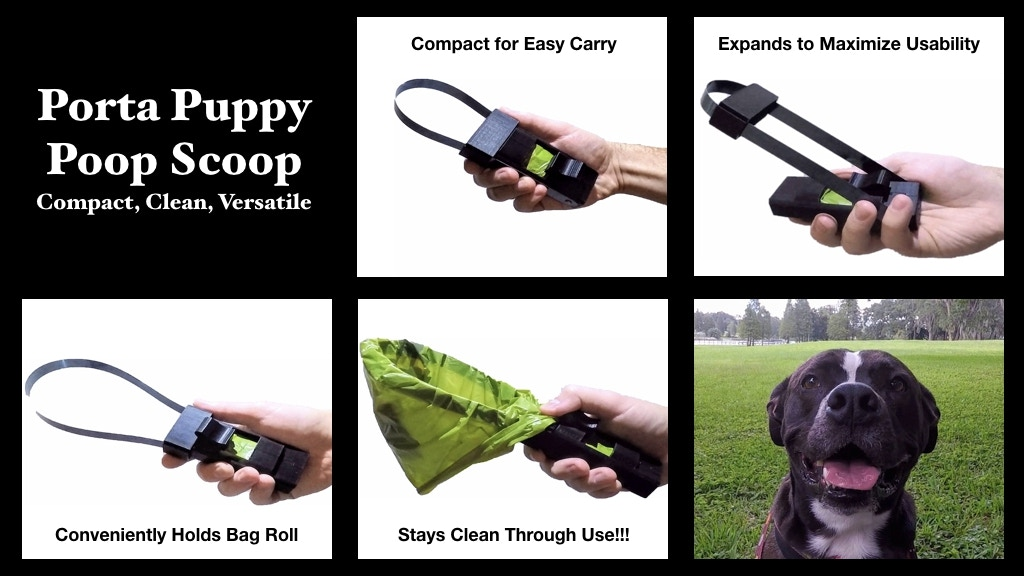 Porta Puppy Poop Scoop: A bag carrier with a built in scoop!