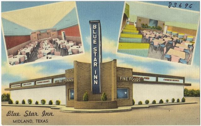 A postcard depicting the Blue Star Inn, via digital commonwealth.org