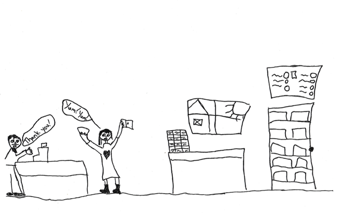 Annika's rendering of the new cheese shop