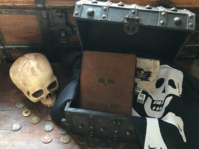 The handmade, leather-bound journal, the traditionally sewn Jolly Roger pirate flag, the dice and dice bag, and the pirate's treasure chest - just some of the rewards on offer with the NEVERLAND Kickstarter.