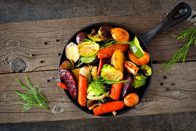 Vegetables cooked in cast iron skillet
