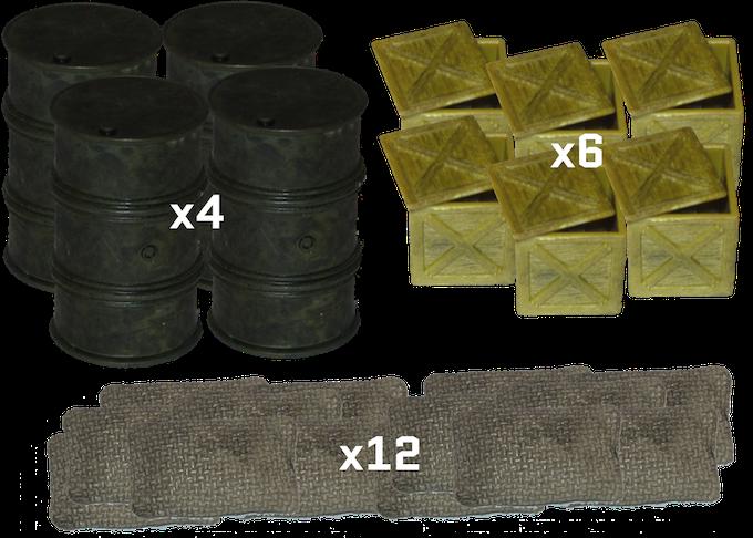 4 Oil Cans; 6 Crates; 12 Sandbags