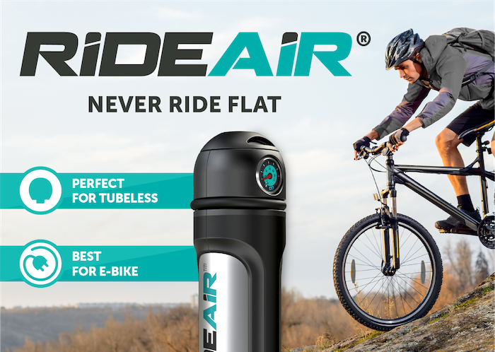 RideAir lets you inflate bicycle / wheelchair tires at a push of a button, it's that simple! Refillable multi-use portable air capsule.