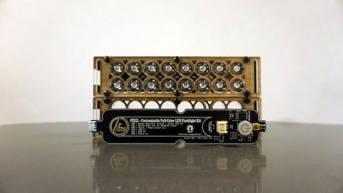 Assembled Case, PCB, & A Fully Assembled PIXEL Flashlight